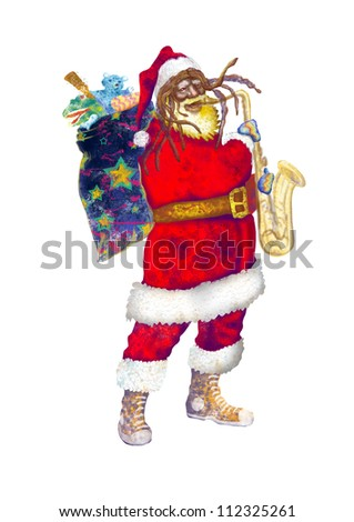 hand drawing using digital tablet (this is the original colored drawing / sketch) - - colored sketch bearded Santa Claus playing the saxophone (unconventional character)