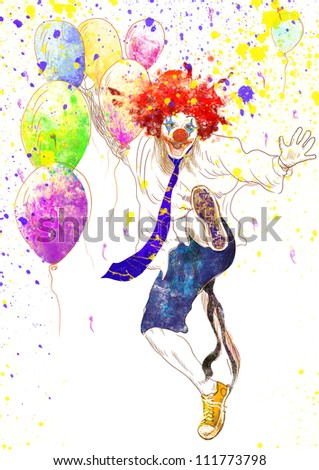 hand drawing using digital tablet (this is the original drawing isolated on white background) - happy clown