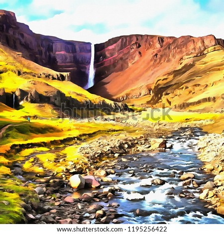 Hand drawing watercolor art on canvas. Artistic big print. Original modern painting. Acrylic dry brush background. Beautiful rocky landscape. Wonderful waterfall view. Charming canyon valley