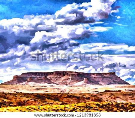 Hand drawing watercolor art on canvas. Artistic big print. Original modern painting. Acrylic dry brush background. Wonderful mountain landscape. Canyon savanna resort. Travel time