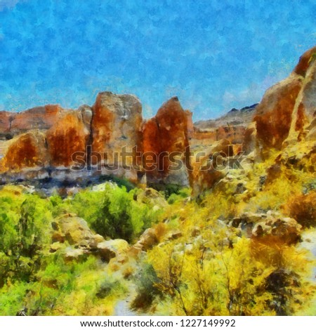 Hand drawing watercolor art on canvas. Artistic big print. Original modern painting. Acrylic dry brush background. Beautiful mountain landscape. Travel canyon view. Exotic tropical resort. Wild nature