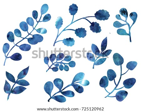 Hand drawing watercolor blue leaves ornament