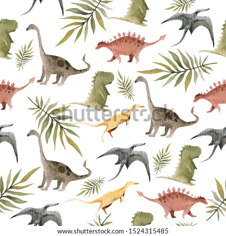 Hand drawing watercolor сhildren's pattern of cute dino and tropical leaves of palm. Funny dinosaur perfect for posters, children's fabric, prints.  illustration isolated on white