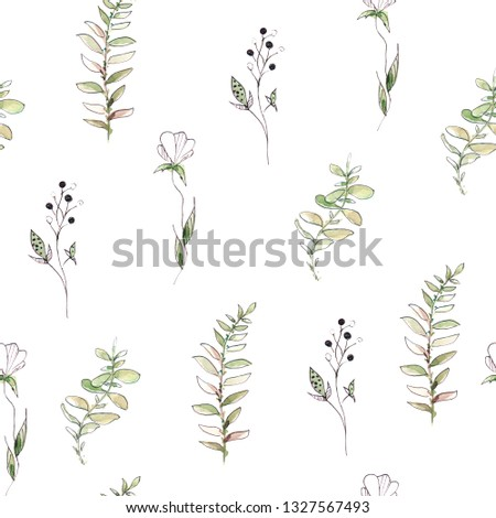 Hand drawing watercolor spring pattern of  leaves and branches. illustration isolated on white #1327567493