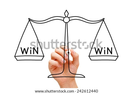 Hand drawing Win Win scale concept with black marker on transparent wipe board isolated on white.  #242612440