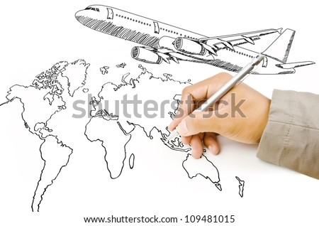Hand Drawing world map globe with airplane for travel around the world.