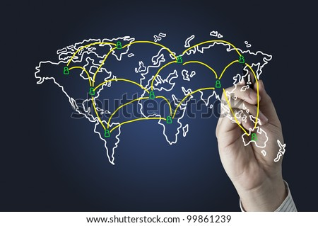 Hand drawing World map network
