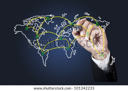 Hand drawing World map network on whiteboard