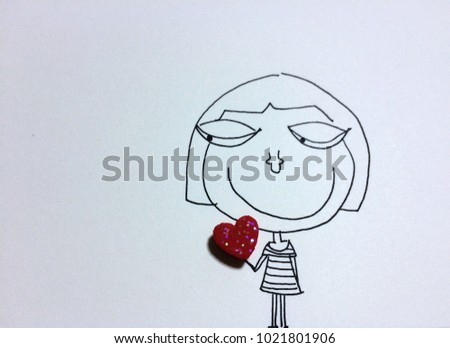 hand drawn a cartoon character of little girl holding a red heart, love concept #1021801906