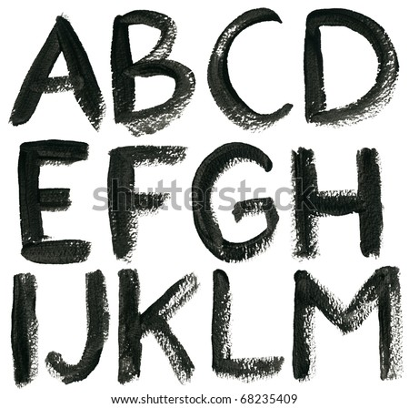 Hand drawn ABC letters set, isolated.