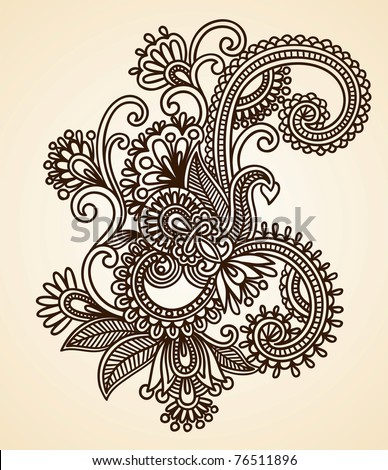 Hand-drawn abstract henna mendie flowers doodle design element - stock photo