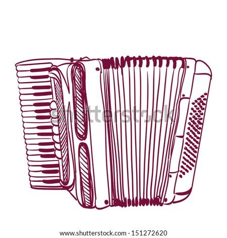 hand drawn accordion on white