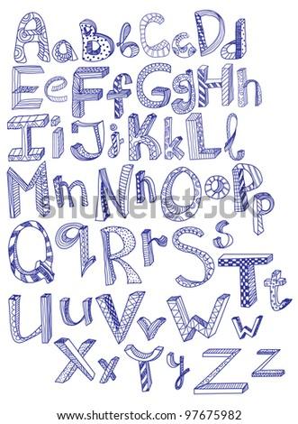 hand drawn alphabet, illustration
