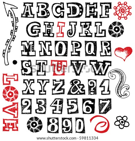hand drawn alphabet isolated on white background - stock photo