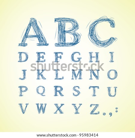 Hand drawn alphabet set - Jpeg version of vector illustration
