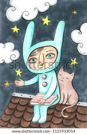 Hand drawn aquarelle colorful illustration. Watercolor artwork. Cute little girl sit on roof with pretty cat, hold star over hand. Dark sky on background with yellow stars and clouds. Good night poste Stock photo ©