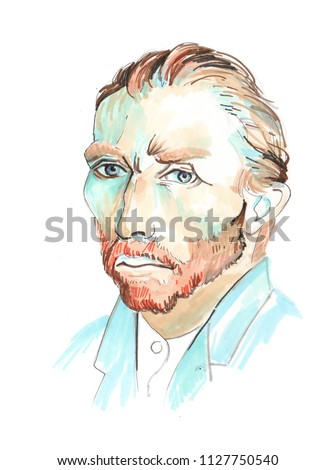 Hand drawn aquarelle colorful illustration. Watercolor artwork. Portrait of a man. Vincent Willem van Gogh.