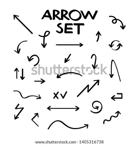 Hand drawn arrow collection, sketched style. stock illustration. #1405316738