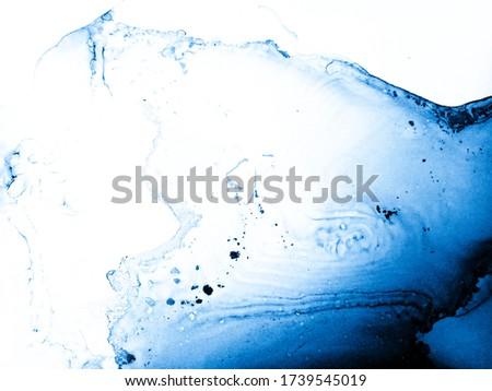 Hand Drawn Art. Magic Fantasy Modern Style. Alcohol Hand Drawn Art. Water Splash Design. Sea Water Marble. Beautiful Indigo Texture. Trendy Abstract Dirty Painting. Liquid Illustration.