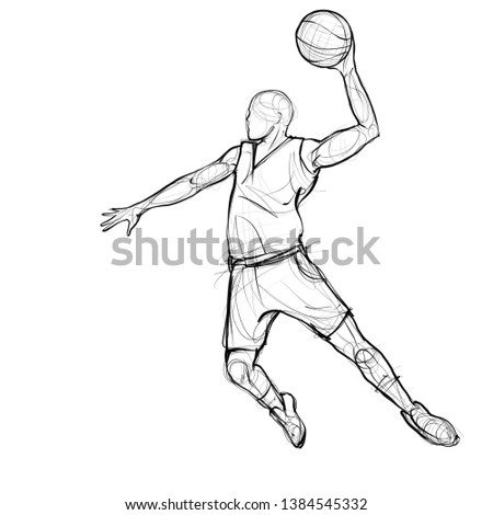 Hand drawn basketball player figure, sport illustration with artistic pencil drawing