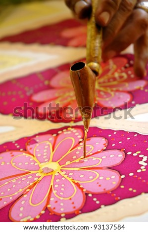Hand drawn batik chanting on pure silk