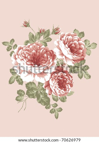 hand drawn - beautiful Rose bouquet design with Simple background