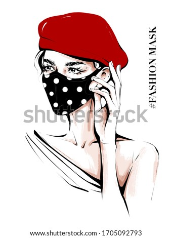 Hand drawn beautiful young woman in ear loop face mask. Stylish girl in red cap. Woman wearing medical mask. Fashion mask. Sketch. Coronavirus concept. Fashion illustration.