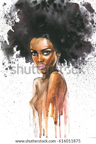 Hand drawn beauty african woman. Watercolor abstract portrait of sexy girl. Painting fashion illustration on white background