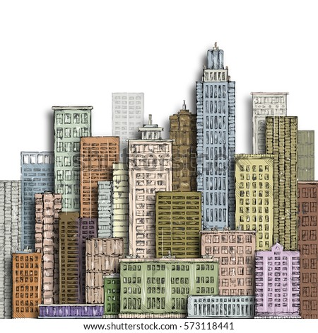 Hand drawn big city. Vintage illustration with architecture, skyscrapers, buildings, downtown.