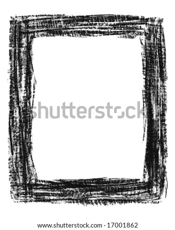 Hand-drawn black grunge textured frame, isolated on white.