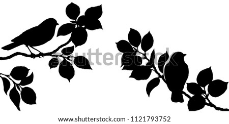 Hand drawn black silhouette of forest birds sitting on tree branches. Monochrome songbirds isolated on white background.