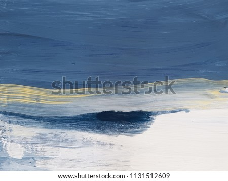 Hand drawn blue painting artwork. Abstract art background. Oil painting on canvas.