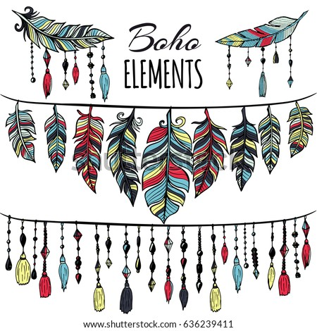 Hand drawn boho collection with feathers, dreamcatcher for design logo, invitation and more. Ethnic, aztec, hipster symbols