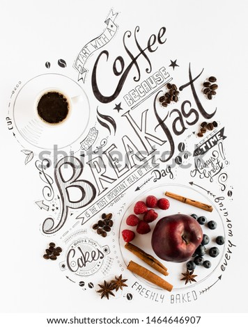 Hand Drawn Breakfast Lettering Typography with classic Phrases in a vintage composition with real cakes #1464646907