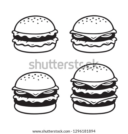 Hand drawn burger sketch set. Simple, double and triple cheeseburger. Black and white illustration. Stock photo ©