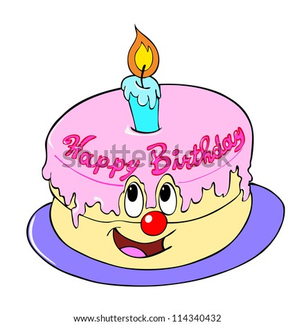 Pin Hand Drawn Cartoon Of A Cakehappy Birthday Cake Stock ...