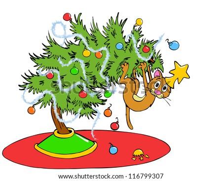 Hand Drawn Cartoon Of A Cat On A Tree Christmas Tree Cat Stock Photo 116799307 Shutterstock
