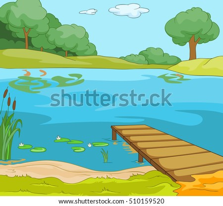 Hand drawn cartoon of summer landscape. Colourful cartoon of summer background. Cartoon of forest lake with pier. Illustration of a lake scenery. Cartoon of lake with wooden pier at summer sunny day.