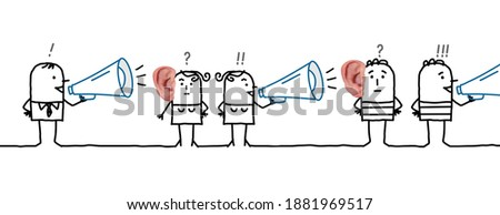 Hand drawn - Cartoon People Listening and Talking about a Rumor- Collage Photo stock ©