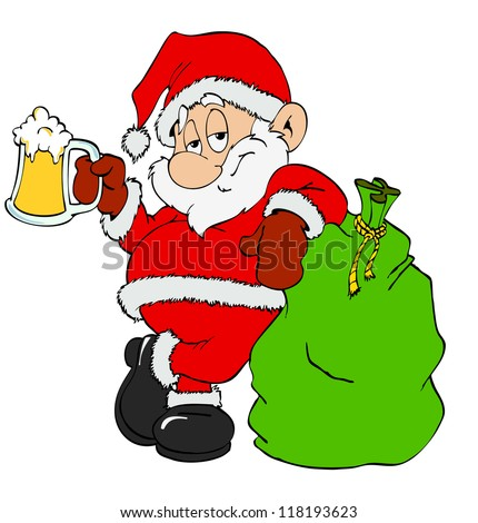 Hand Drawn Cartoon St.Nick/Santa Claus With Beer Stock Photo ...