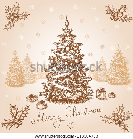 Hand drawn christmas card in vintage stile. Raster version. Vector is also available in my gallery