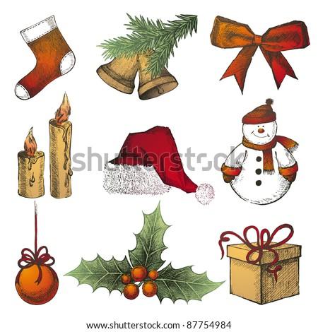 hand drawn Christmas icons