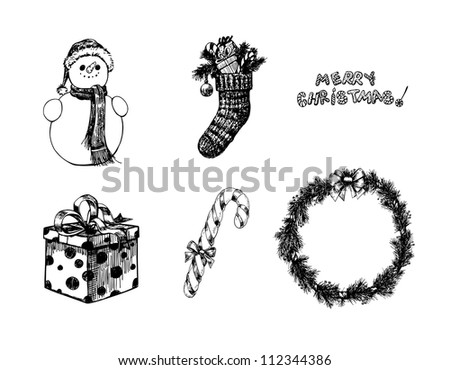 Hand drawn Christmas objects- snowman, sock, gift, candy cane and wreath