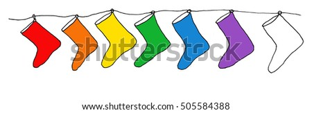 Hand drawn christmas stockings in rainbow colors #505584388