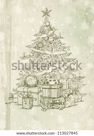 Hand drawn Christmas tree and gifts