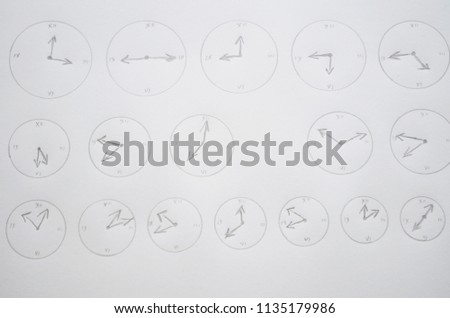 Hand drawn clock set , watches, time #1135179986