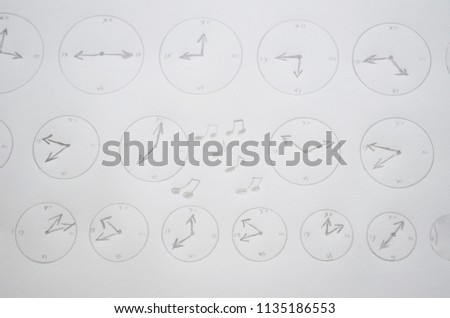 Hand drawn clock set , watches, time #1135186553