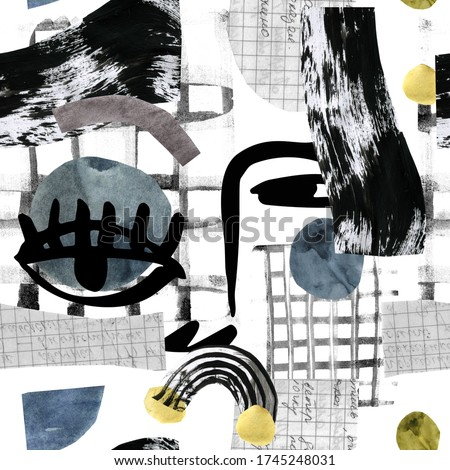 Hand drawn collage in contemprary minimal cubism style. Modern art illustration: abstract portrait, watercolor colored geometric shapes, textures, doodles, paper, scribble. Watercolor unusual artwork