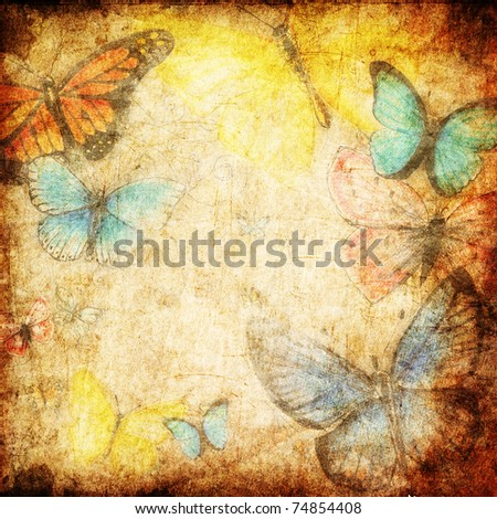 hand drawn colorful butterflies on grunge background