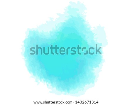 Hand drawn colorful digital spot on isolated white. Colored aquarelle blotch. Watercolour splotch. Paint and ink smudges. Blur stain. Trendy label brush stroke background